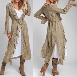 Other - 🆕 Sage Green Print Ruffled Flounce Sleeve Duster